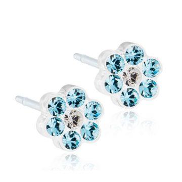 BLOMDAHL Earrings, Daisy Aquamarine Crystal, 5mm, 115B