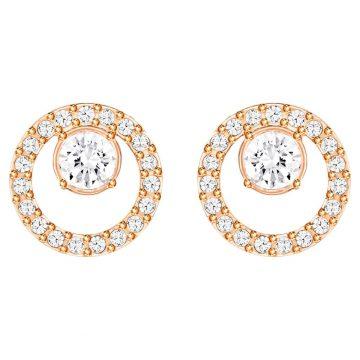 SWAROVSKI Creativity Circle Pierced Earrings, White, Rose-gold tone plated, 5199827
