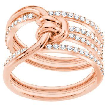 SWAROVSKI Δαχτυλίδι Lifelong, λευκό, επιχρυσωμένο σε χρυσή ροζ απόχρωση, size 52, 5402432
