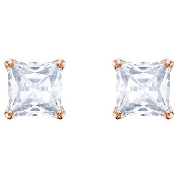 SWAROVSKI Attract Stud Pierced Earrings, White, Rose-gold tone plated, 5431895