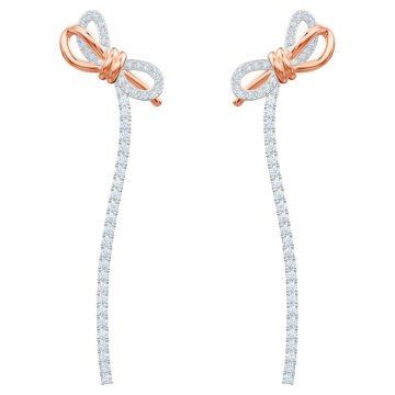 SWAROVSKI Τρυπητά σκουλαρίκια Lifelong Bow, λευκά, μικτό μεταλλικό φινίρισμα 5447083