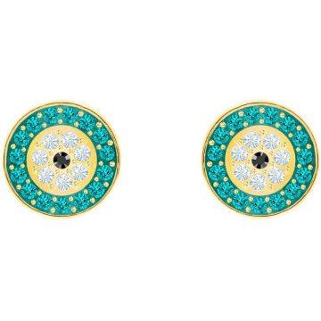 SWAROVSKI Τρυπητά σκουλαρίκια Luckily Evil eye, τουρκουάζ, επιχρυσωμένο 5468914