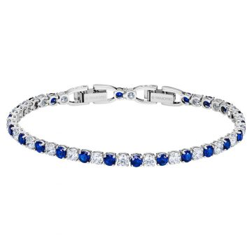 SWAROVSKI Tennis Deluxe Bracelet, Blue, Rhodium plated 5506253
