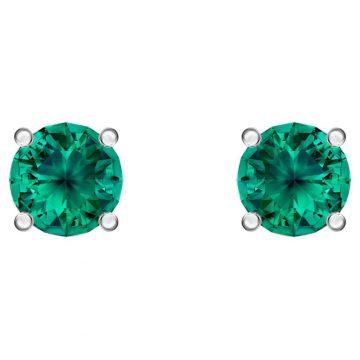 SWAROVSKI Τρυπητά σκουλαρίκια καρφιά Attract, πράσινο, επιροδιωμένα 5512384