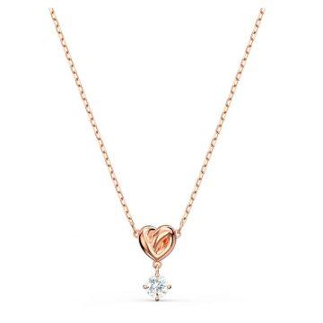 SWAROVSKI Μενταγιόν Lifelong Heart, λευκό, επιχρυσωμένο σε χρυσή ροζ απόχρωση, 5516542