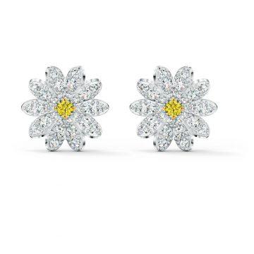 SWAROVSKI Τρυπητά σκουλαρίκια με καρφιά Eternal Flower, Κίτρινο, μεικτό μεταλλικό φινίρισμα, 5518145