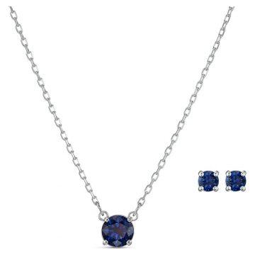 SWAROVSKI Attract Round Set, Blue, Rhodium plated, 5536554