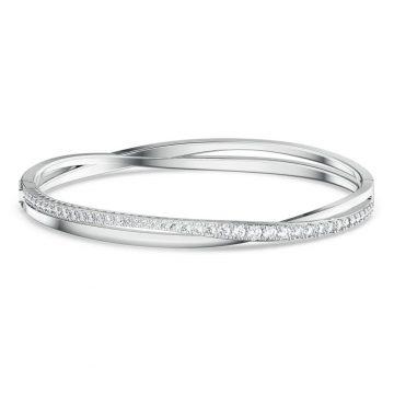SWAROVSKI Twist Rows Bracelet, White, Rhodium plated, 5565210