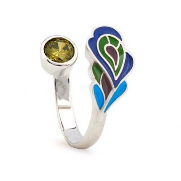 CHRYSALIS Δαχτυλίδι από Ορείχαλκo, NATURE PEACOCK FEATHER RINGS, CRRT0405SP