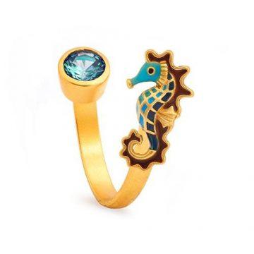 CHRYSALIS Δαχτυλίδι από Ορείχαλκo, NATURE SEAHORSE, CRRT0413GP