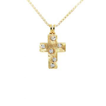 Γυναικείος σταυρός, χρυσός K18 (750°), με διαμάντια 0,09ct
