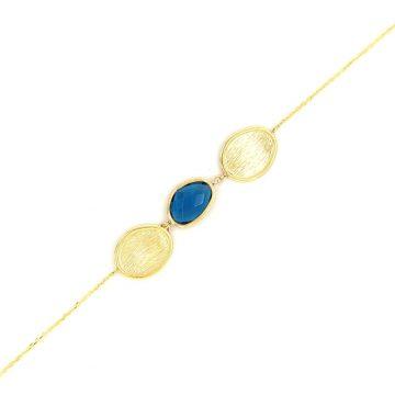 Βραχιόλι γυναικείο, χρυσός Κ14 (585°), color london blue