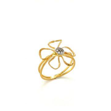 Women's ring, gold K14 (585°), flower