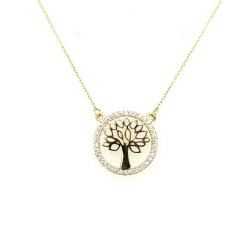 Women's necklace, gold K14 (585°), tree of life