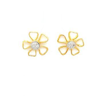 Women's earrings, gold Κ14 (585°), flower