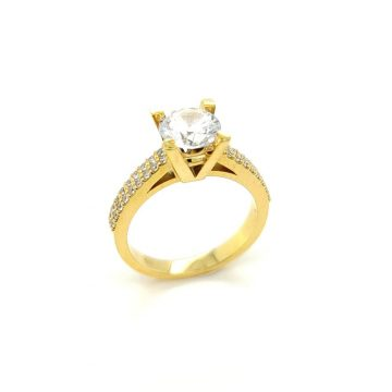 Women's ring, gold K14 (585°), with zirgon stone
