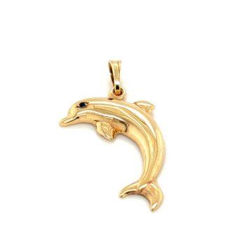 Pendant, gold K14 (585°), dolphin