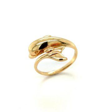 Women's ring, gold K14 (585°) dolphin