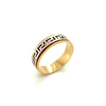 Men's ring, gold K14 (585°) meander with two colors