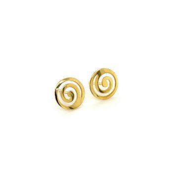 Women's earrings, gold K14 (585°), spiral