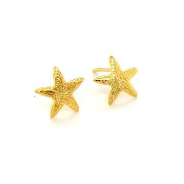 Women's earrings, gold Κ14 (585°), star