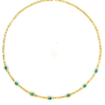 Women's necklace, gold K14 (585°), meander with artificial opal