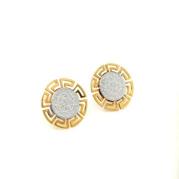 Women's earrings, gold K14 (585°), Phaistos Disc with meander two colors