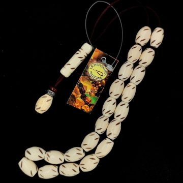 Kombolois camel bone carved white, 21 beads