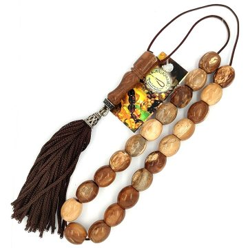 Kombolois cook wood  (21 beads) with tassel