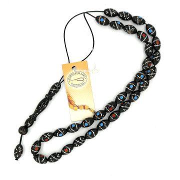 ΚΟΜΠΟΛΟΙ Γιούσουρι (Μαύρο Κοράλλι) κεντημένο (33 χάντρες)