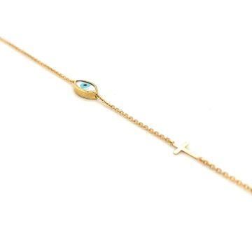 Βραχιόλι γυναικείο, χρυσός Κ14 (585°) με ματάκι