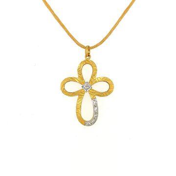 Women's cross, gold K14 (585°)   with zircon