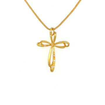 Γυναικείος σταυρός, χρυσός K14 (585°) με ζιργκόν