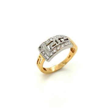 Women's ring, gold K14 (585°) two-tone meander with zircon