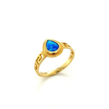 Women's ring, gold K14 (585°) tear with artificial opal