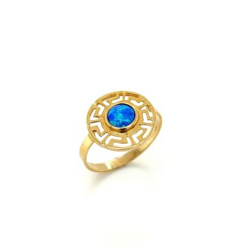 Women's ring, gold K14 (585°) meander with artificial opal