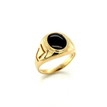 men's ring, gold K14 (585°) meander with artificial onyx