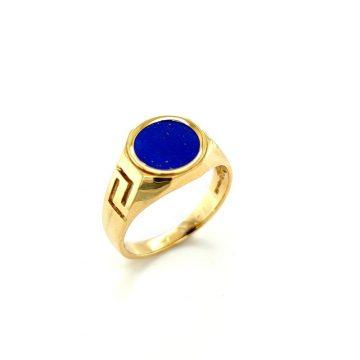 Μen's ring, gold K14 (585°) meander with artificial lapis