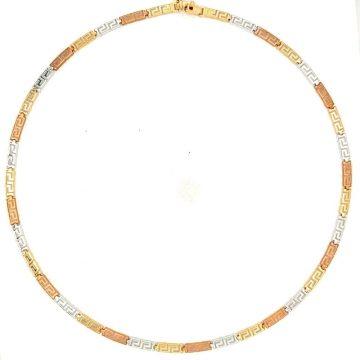Women's necklace, gold K14 (585 °), meander tricolor