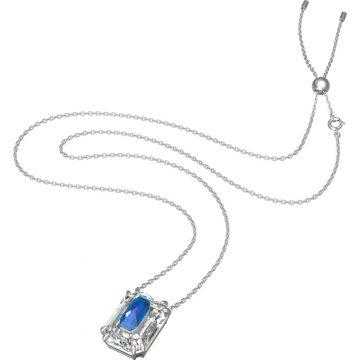 SWAROVSKI Chroma pendant, Octagon cut crystal, Blue, Rhodium plated, 5600625