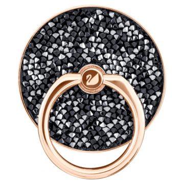 SWAROVSKI Αυτοκόλλητο δαχτυλίδι κινητού Glam Rock Μαύρο, Επιμετάλλωση σε ροζ χρυσαφί τόνο,5457469