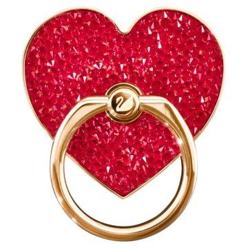 SWAROVSKI Αυτοκόλλητο δαχτυλίδι κινητού Glam Rock Καρδιά, Κόκκινο, Επιμετάλλωση σε ροζ χρυσαφί τόνο,5457473