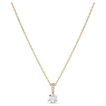 SWAROVSKI Μενταγιόν Solitaire Λευκό, Επιμετάλλωση σε χρυσαφί τόνο,5511557
