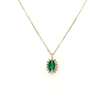 Women's necklace, gold K14 (585°), rosette with green zircon