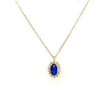 Women's necklace, gold K14 (585°), rosette with blue zircon