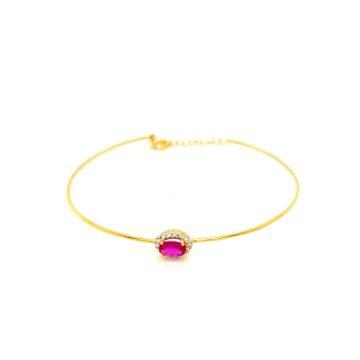Βραχιόλι γυναικείο, χρυσός Κ14 (585°) ροζέτα με κόκκινο ζιργκόν