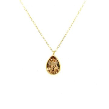 Women's necklace, silver (925 °) with citrine crystal