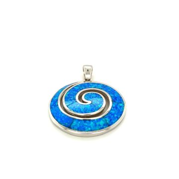 Pendant, Silver (925°), Spiral with artificial opal