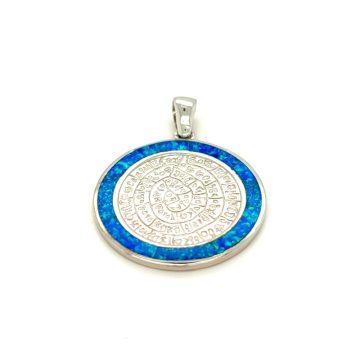 Μενταγιόν, ασήμι (925°), Δίσκος της Φαιστού με τεχνητό opal