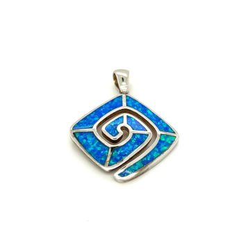 Pendant, silver (925°), Meander with artificial opal